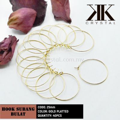 Hoop Earring, Round, 25mm, Gold Plating, 40pcs/pkt
