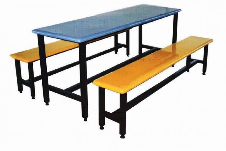 AK 608 - FIBREGLASS TABLE WITH BENCH 6 Seater Canteen Table (Fibreglass Table Top) Fibreglass Furniture