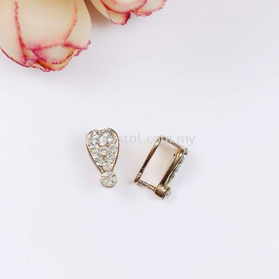 Pendant Clips, with Rhinestone, Large, Gold Plating, 020012, 10pcs/pack