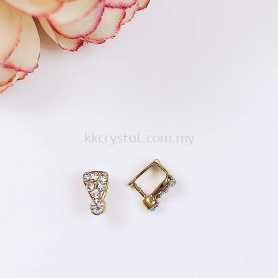 Pendant Clips, with Rhinestone, Small, Gold Plating, 020012, 10pcs/pack