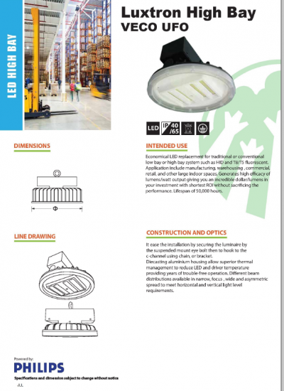 LUXTRON LED HIGHBAY UFO HBVUMN PHILIPS OEM