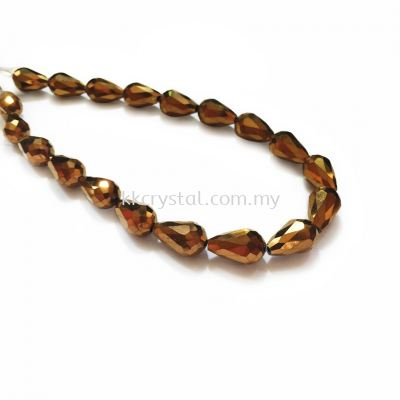 Crystal China, Teardrop 10mm, B79 Metalic Brown