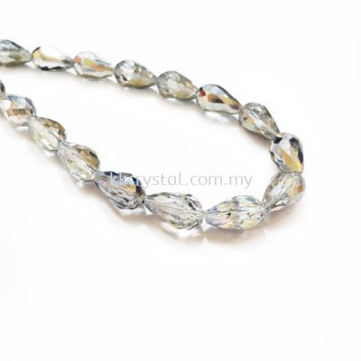 Crystal China, Teardrop 10mm, B75 Half Silver