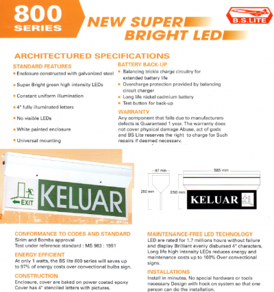 BSLITE SLIM EMERGENCY KELUAR SIGN KR-LED 2