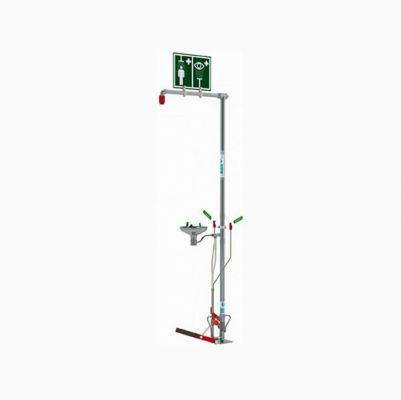 Spill Station Floor Mounted Self-draining Combination Shower with Open Bowl Stainless Steel Eye Face Wash