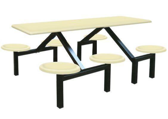 AK603 - FIBREGLASS TABLE WITH STOOL 6 Seater Canteen Table (Fibreglass Table Top) Fibreglass Furniture