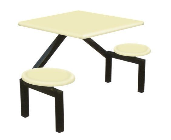 AK202 - FIBREGLASS TABLE WITH STOOL 2 Seater Canteen Table (Fibreglass Table Top) Fibreglass Furniture