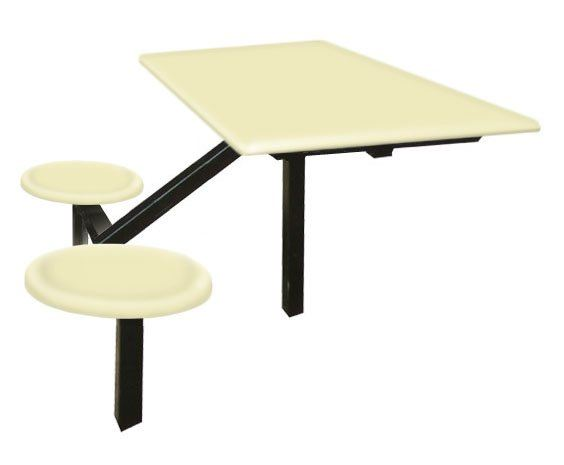 AK202L - FIBREGLASS TABLE WITH STOOL 2 Seater Canteen Table (Fibreglass Table Top) Fibreglass Furniture