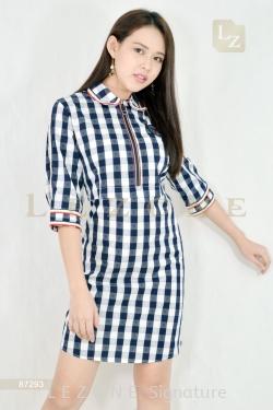 87293 PLAID FRONT ZIPPER DRESS【UNLIMITED 40%】