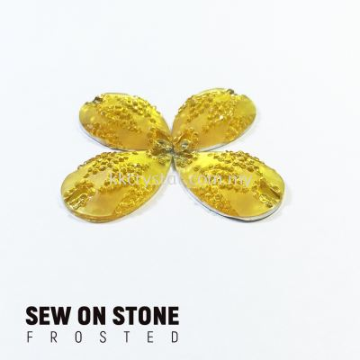 Sew On Stone, Frosted Print, 02# Teardrop, 15x22mm, Color 05#, 4pcs/pack (BUY 1 GET 1 FREE)