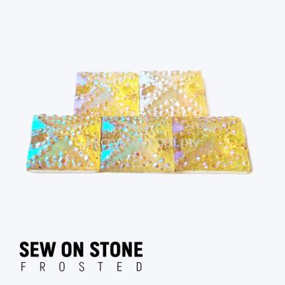 Sew On Stone, Frosted Print, 01# Square, 14x14mm, Color 57#, 5pcs/pack (BUY 1 GET 1 FREE)