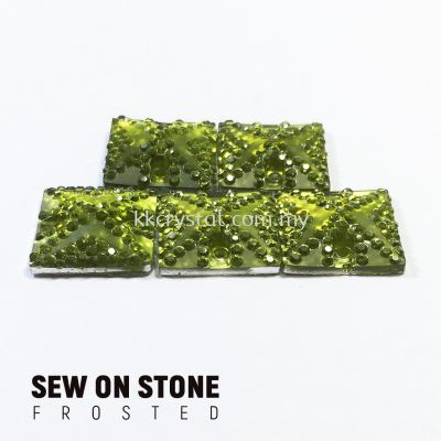 Sew On Stone, Frosted Print, 01# Square, 14x14mm, Color 04#, 5pcs/pack (BUY 1 GET 1 FREE)