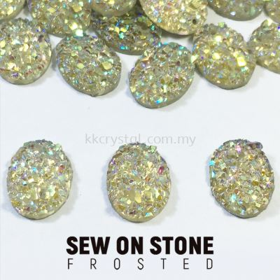 Sew On Stone, Frosted, Code 01# Oval, 8*10mm, 014# White 2X, 25pcs/pack (BUY 1 GET 1 FREE)