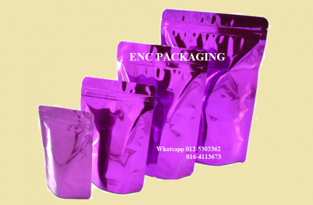 Purple foil bag (140mm x 200mm)