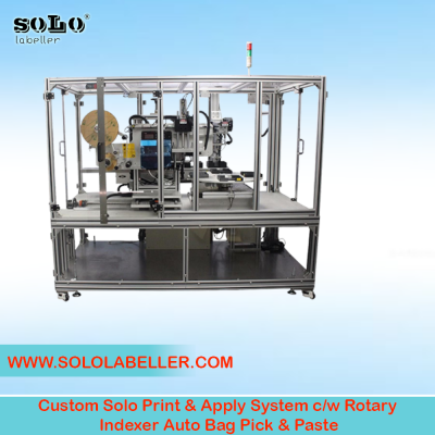 Print & Apply System c/w Rotary Indexer Auto Bag Pick & Paste Labelling Machine (Customized Machine)