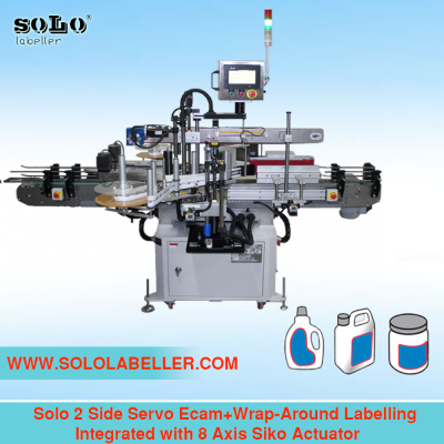 Two(2) Side Servo Ecam Wrap Around Labelling Machine Integrated with 8 Axis Siko Actuator (Customized Machine)