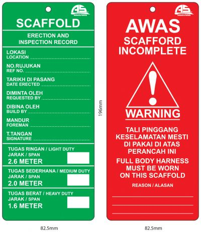 AS SCAFFOLD TAG - CARD ONLY AIS-STAG-CARD/GR
