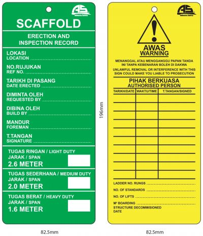 AS SCAFFOLD TAG - CARD ONLY AIS-STAG-CARD/GY