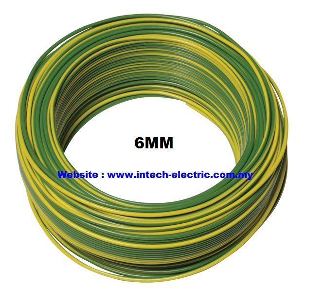 6.0MM (7/1.04mm) PVC CABLE GREEN/YELLOW 100 METER Pvc Single Core Earthing Cable Electric Copper Cable