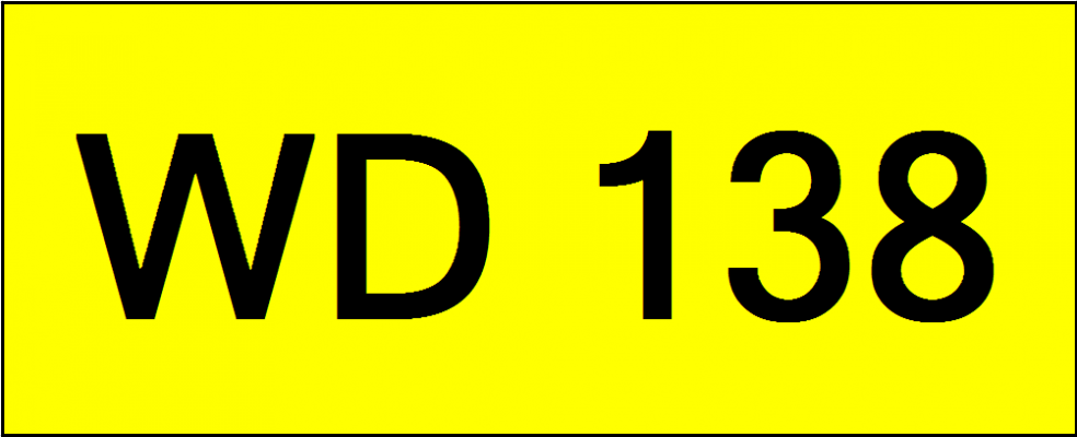 Superb Classic Number Plate (WD138)