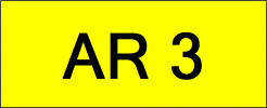 Number Plate AR3 Superb Classic Plate
