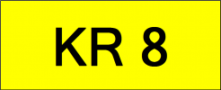 Number Plate KR8 Superb Classic Plate