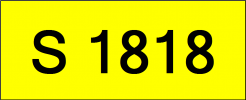 Number Plate S1818 Rare Classic Plate