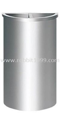 STAINLESS STEEL SEMI ROUND BIN c/w 1/2 ashtray 1/2 open top