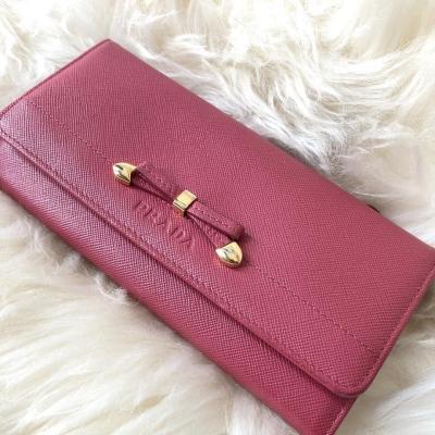 Prada Saffiano Long Wallet in Pink