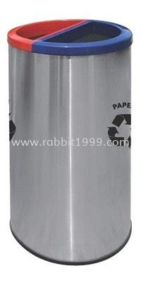 STAINLESS STEEL & POWDER COATING 2 COMPARTMENT ROUND RECYCLE BIN - RECYCLE-136/SS RECYCLE BIN RUBBISH BIN