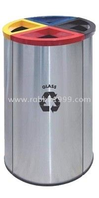 STAINLESS STEEL & POWDER COATING 4 COMPARTMENT ROUND RECYCLE BIN - RECYCLE-139/SS RECYCLE BIN RUBBISH BIN