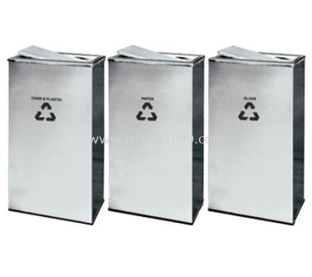 STAINLESS STEEL RECTANGULAR FLIP TOP RECYCLE BIN - RECYCLE-235/SS