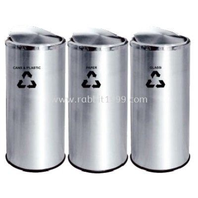 STAINLESS STEEL FLIP TOP RECYCLE BIN - RECYCLE-234/SS
