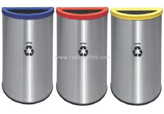 STAINLESS STEEL & POWDER COATING SEMI ROUND RECYCLE BIN - RECYCLE-140/SS