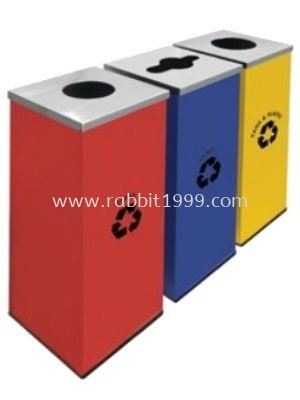 SQUARE RECYCLE BINS c/w mild steel body & stainless steel cover