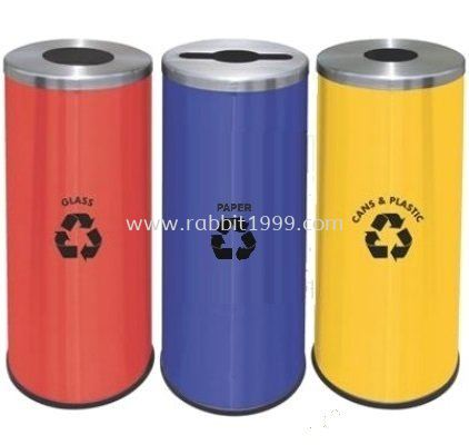 POWDER COATING & STAINLESS STEEL ROUND RECYCLE BIN - RECYCLE-132/SS