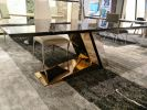 Modern Dining Table Base - Staineless Steel Rose Gold  Marble Dining Table