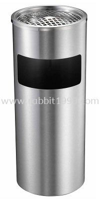 STAINLESS STEEL ROUND WASTE BIN c/w ashtray top