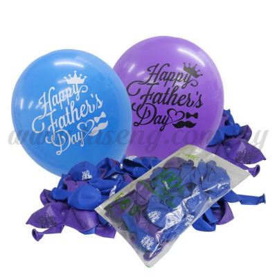12inch Happy Father's Day 1 Side Printed Balloons 50pcs(B-SR12-HFD50)