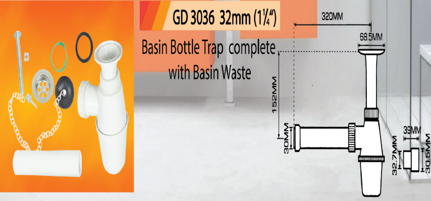 Basin Bottle Trap c/w Basin Waste