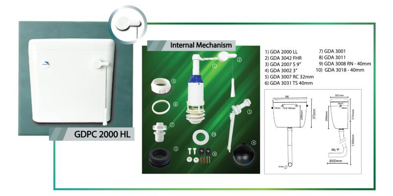 High Level Lever Handle Plastic Cistern