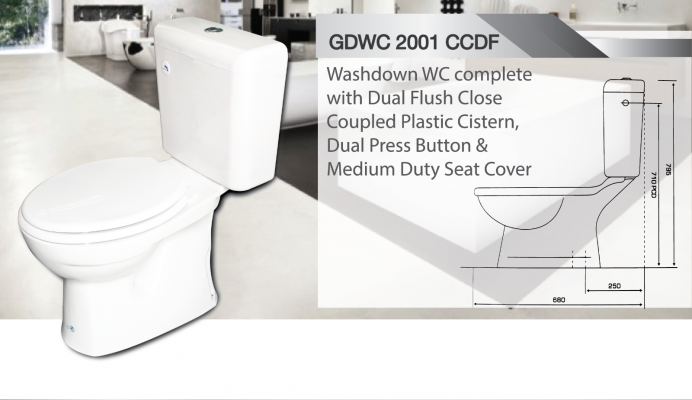 Washdown WC c/w High Level Plastic Cistern