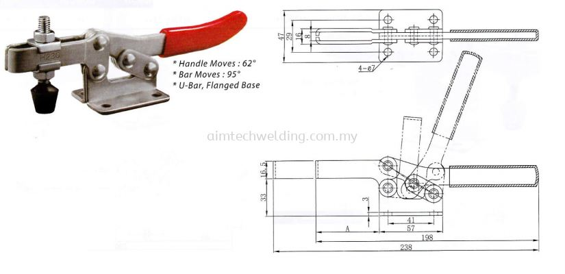 GH203F HORIZONTAL HANDLE TOGGLE CLAMP