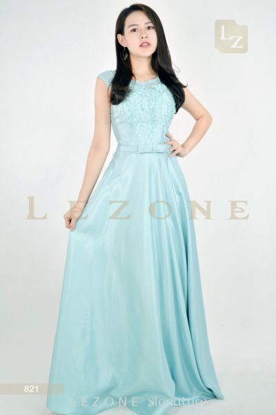 821 Satin Embellished Long Dinner Dress