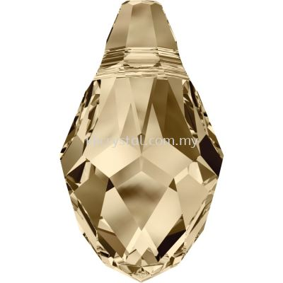 Swarovski 6007 Small Briolette Pendant, 7x4mm, Crystal Golden Shadow (001 GSHA), 2pcs/pack