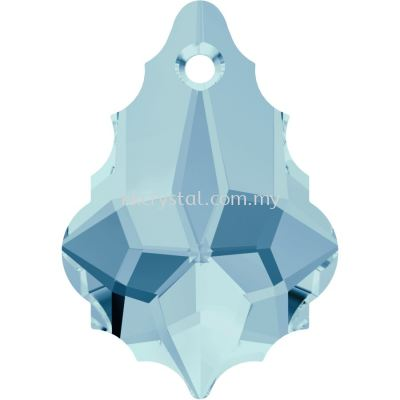 Swarovski 6090 Baroque Pendant, 16x11mm, Aquamarine (202), 1pcs/pack