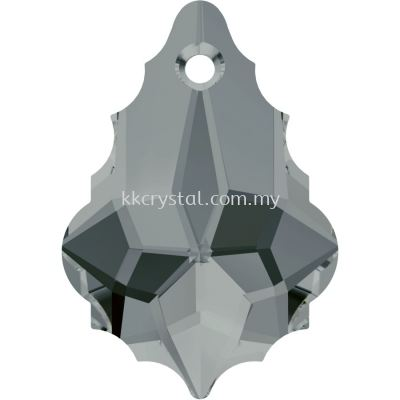 Swarovski 6090 Baroque Pendant, 16x11mm, Black Diamond (215), 1pcs/pack