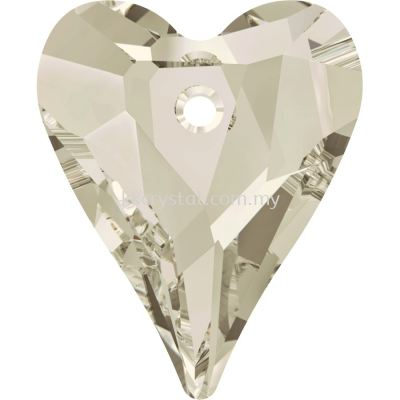 Swarovski 6240 Wild Heart Pendant, 17mm, Crystal Silver Shade (001 SSHA), 1pcs/pack