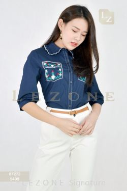 87272 POCKET EMBROIDERED BLOUSE【UNLIMITED 40%】