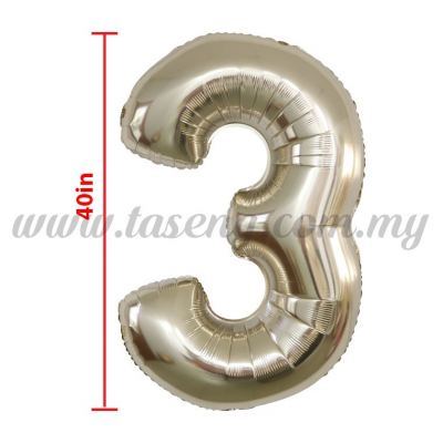 40inch Foil Balloon Number 3 - Rose Gold (FB-40-3RG)